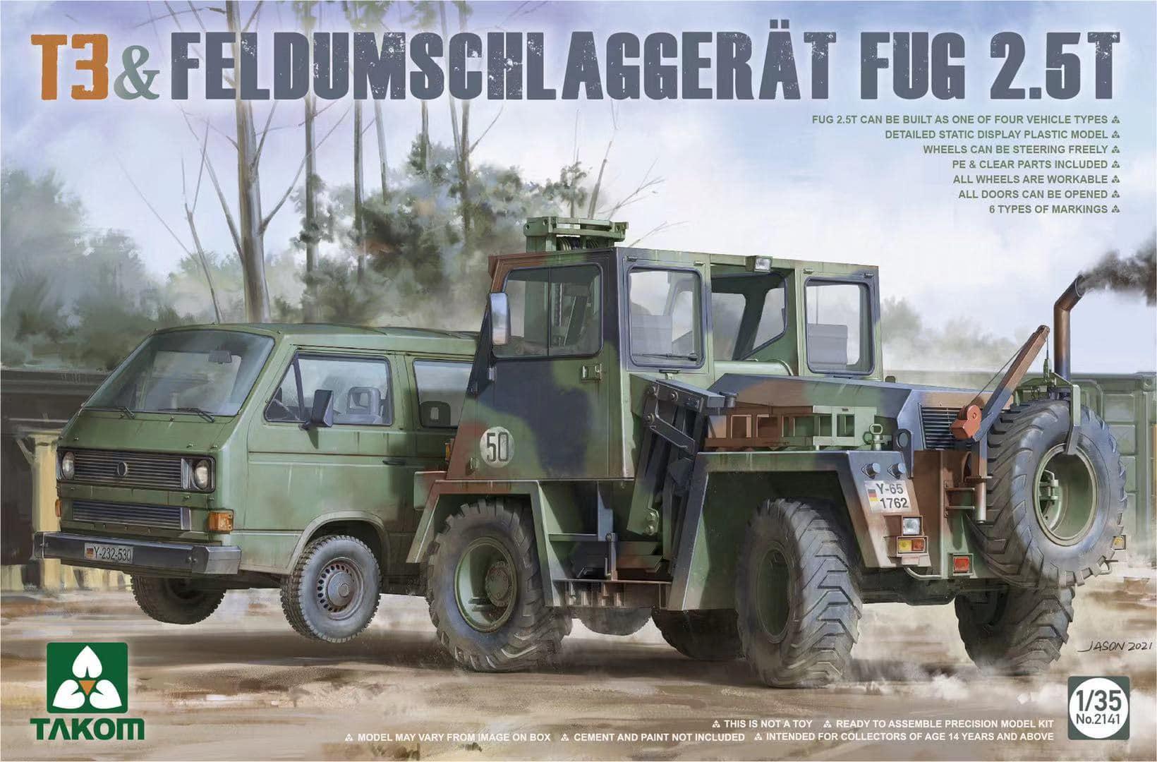 Takom 1:35 Bundeswehr T3 Transporter Trucks Double Cab Plastic Model Kit 2014
