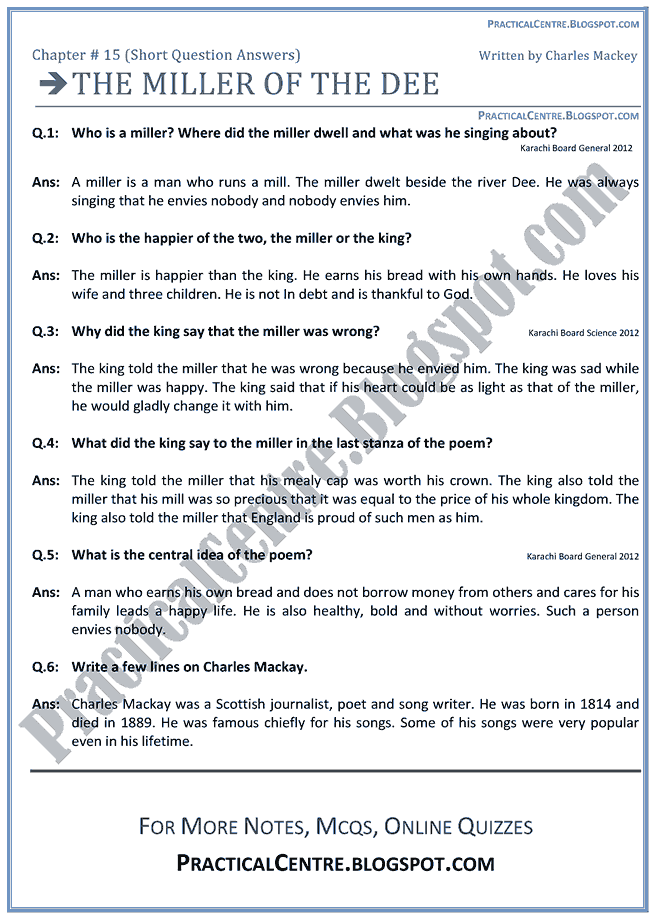 The Miller Of The Dee - Questions Answers - English IX - PRACTICAL