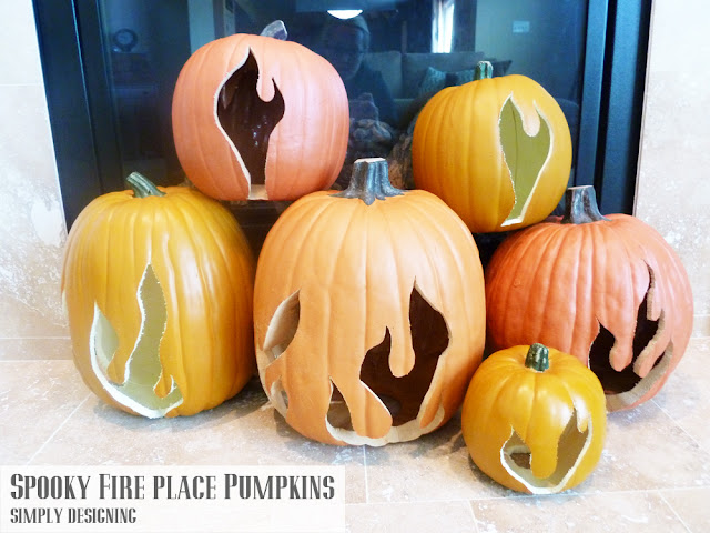 Spooky Fireplace Flaming Pumpkins | #spookyspaces #pumpkins #pumpkincarving #halloween #funkins