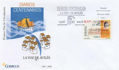 filatelia, sello, matasellos, PDC, Avilés, La voz, periódico