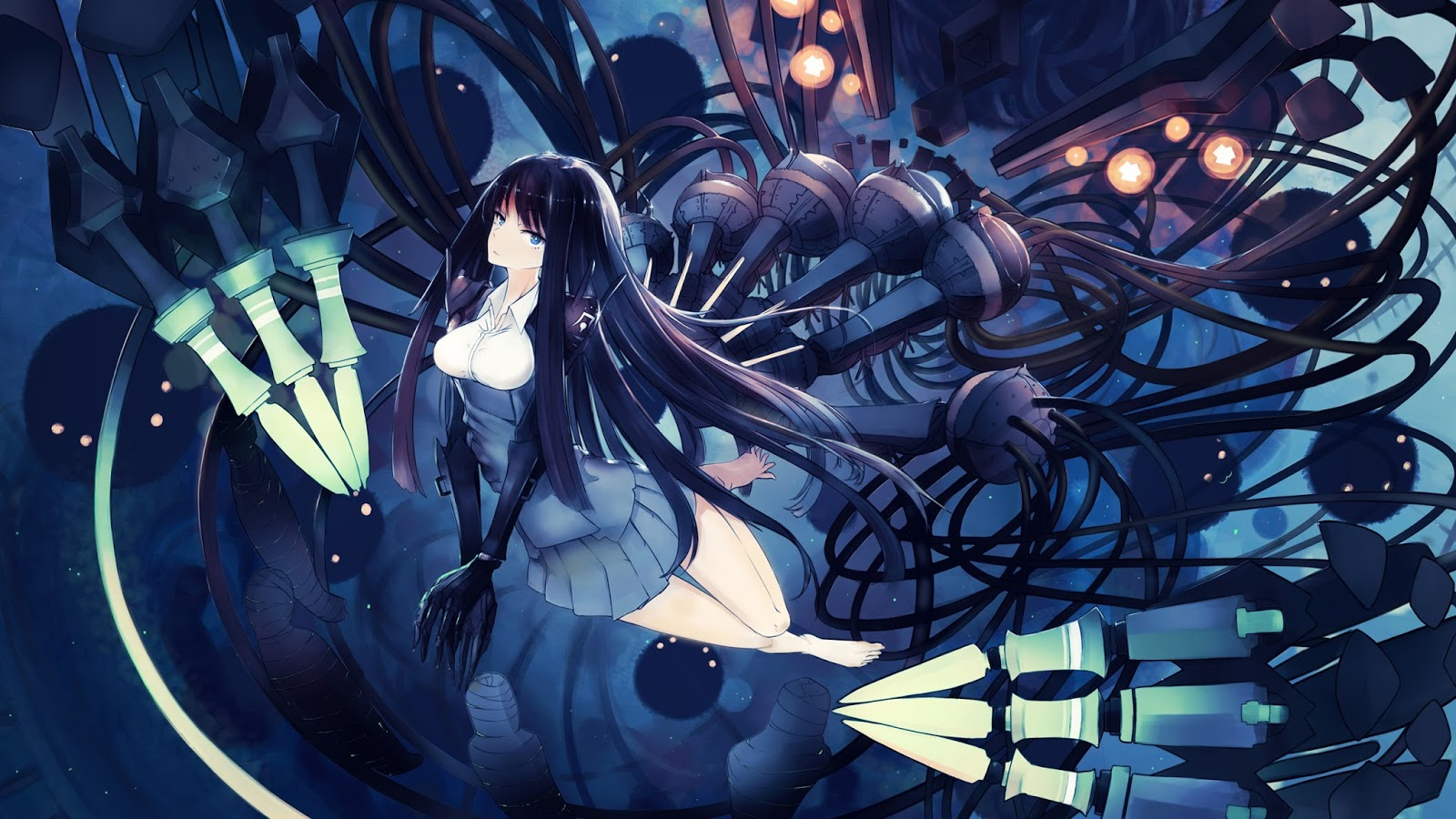 anime girl female barefoot black hair blue eyes long hair original ...