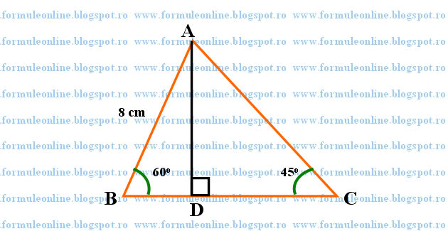 Fie triunghiul ABC cu masura unghiului B de 60o, masura unghiului C de 45o si AB = 8cm. Se cere sa se afle perimetrul si aria triunghiului