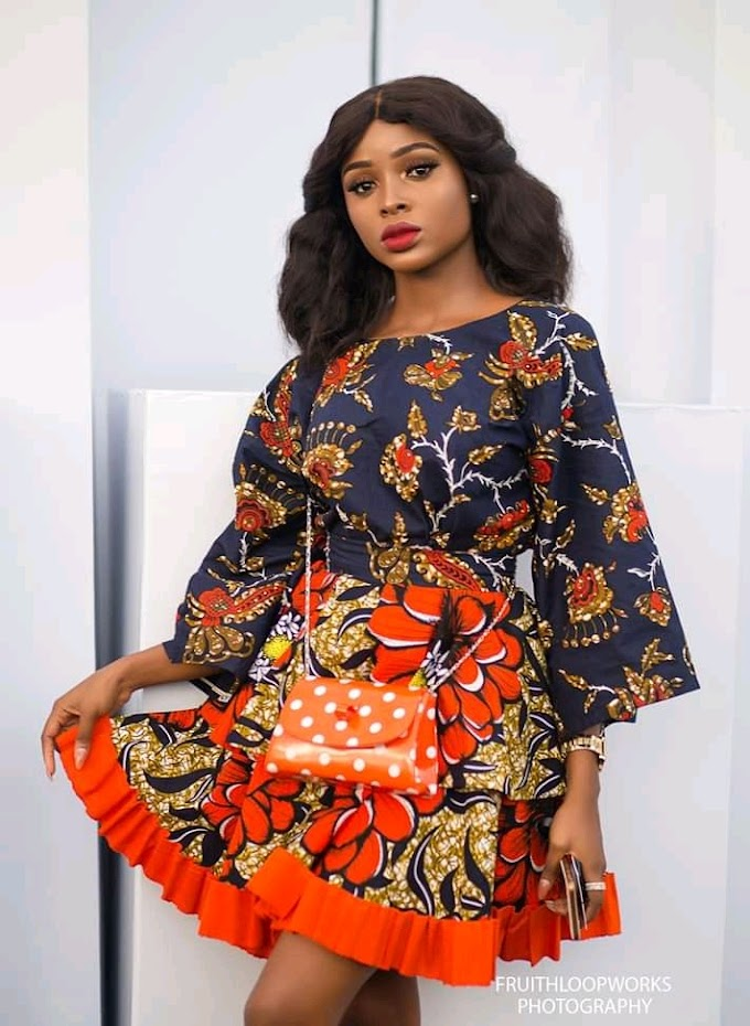 Trendy Ankara short gown