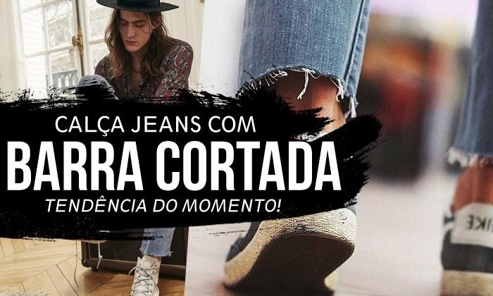 Calça Jeans com Barra Cortada Masculina