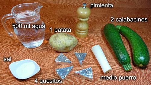 Crema de calabacín. Ingredientes