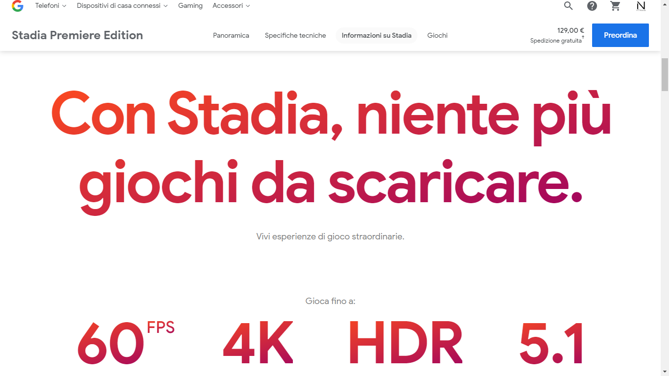 Il sito di Google Stadia è online