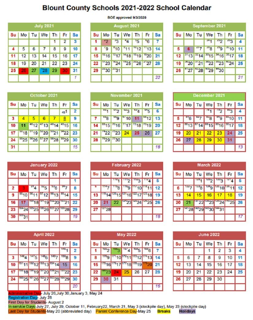 Blount County Schools Calendar 2021-2022