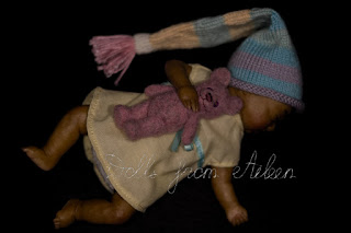 OOAK artist baby girl doll sleeping, holding her teddy bear