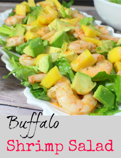 An easy and quick meal that can easily become a favorite. A quick fix recipe for shrimp, layered with mango and avocado on a bed of lettuce and drizzled with a caesar dressing and buffalo sauce mix