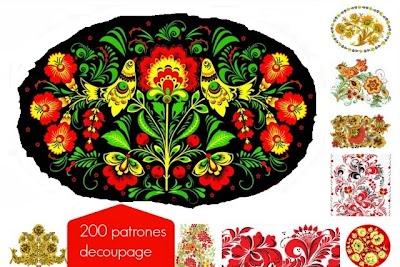 200 Plantillas Rusas Decoupage para Artesanias