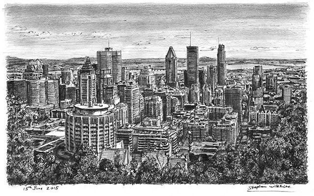 Stephen Wiltshire retrato del Downtown Montreal, Canada