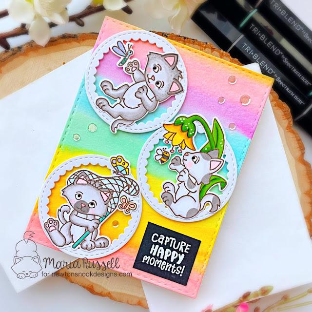 Birthday Cat card by Samantha VanArnhem | Captivated Kittens Stamp Set, Petite Clouds Stencil and Birthday Essentials Stamp Set by Newton's Nook Designs #newtonsnook