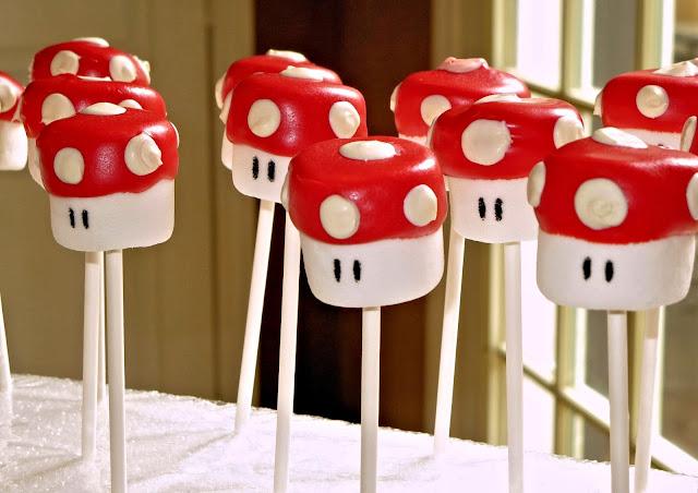 Mario Mushroom Marshmallow Pops - Close Up Angled View 1