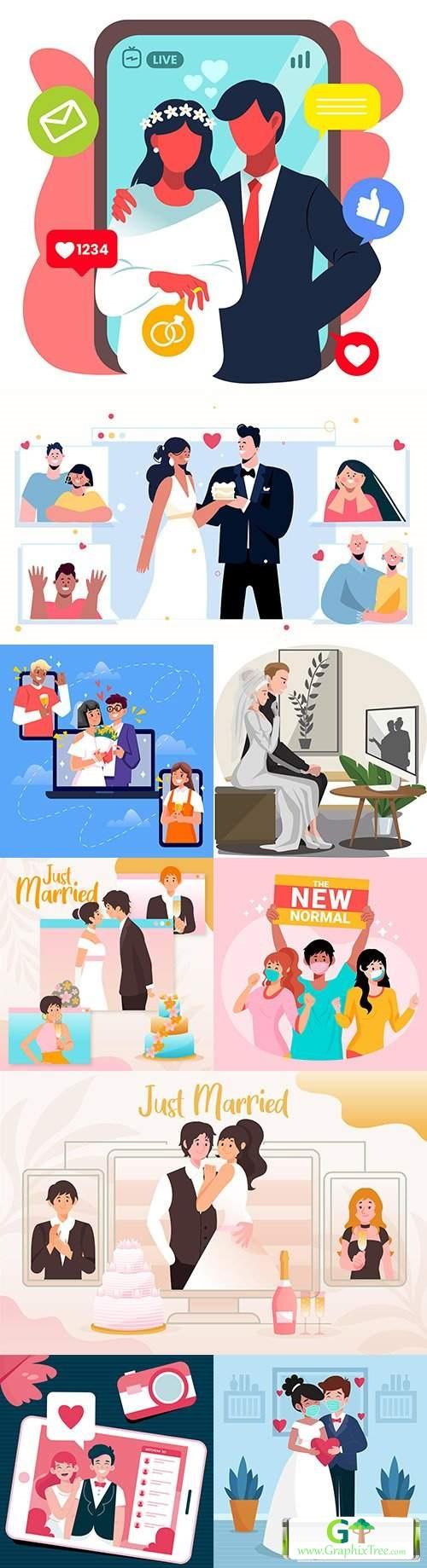 Wedding festive ceremony flat design illustration