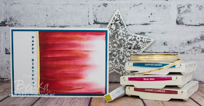 Red Abstract Art Birthday Card - Get the details on how to make this and buy the supplies here