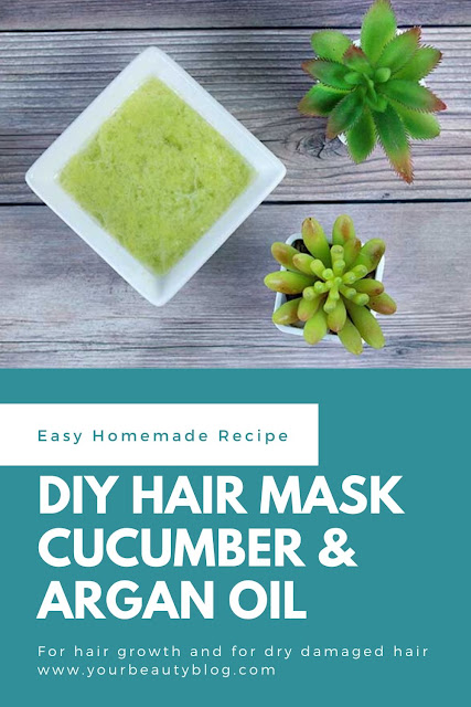 How to make a DIY hair mask for growth and for dry hair. This easy deep conditioning hair mask has egg, cucumber puree, and argan oil. It's for that is damaged and growth for your hair. This is hydrating and moisturizing for dry damaged hair. This homemade hair mask is dual purpose for growth homemade and deep conditioning homemade. The vitamins and minerals are for breakage. Damaged deep conditioning recipes to keep your hair looking great. #diyhairmask #hairmask #cucumber