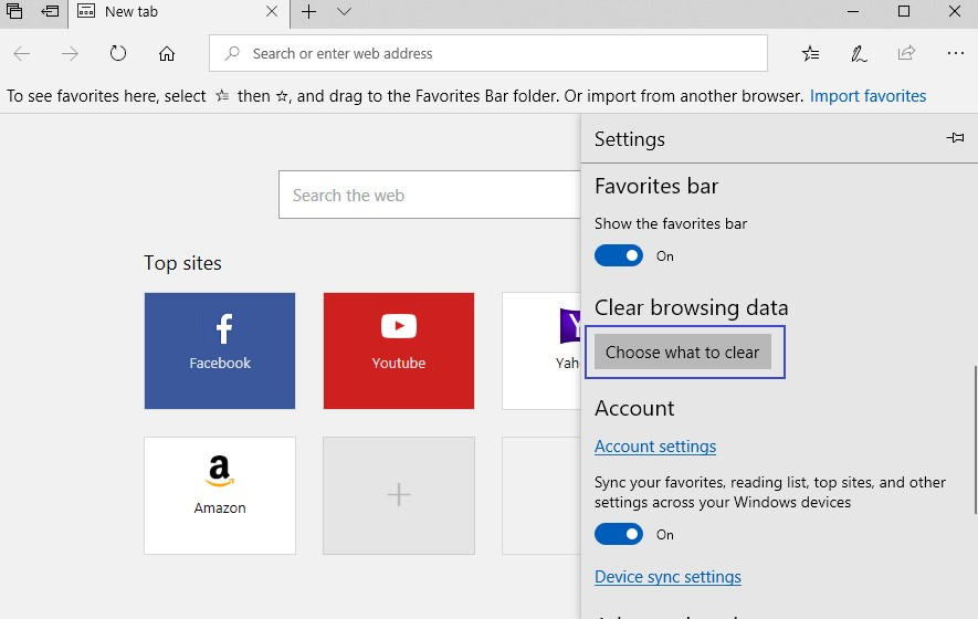 choose what to clear window in Edge browser