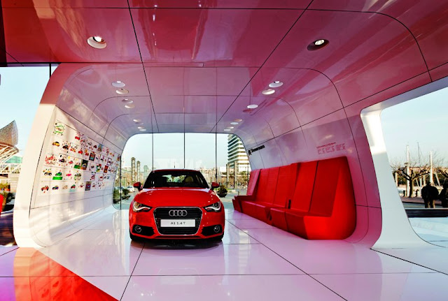Red Audi car in the modern Audi pavilion