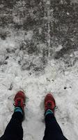 Chaussures de course Mizuno, trottoir enneigé