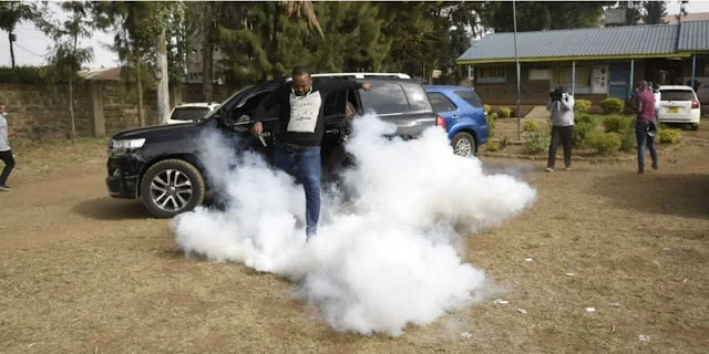 Lang'ata Member of Parliament Nixon Korir with teargas photo