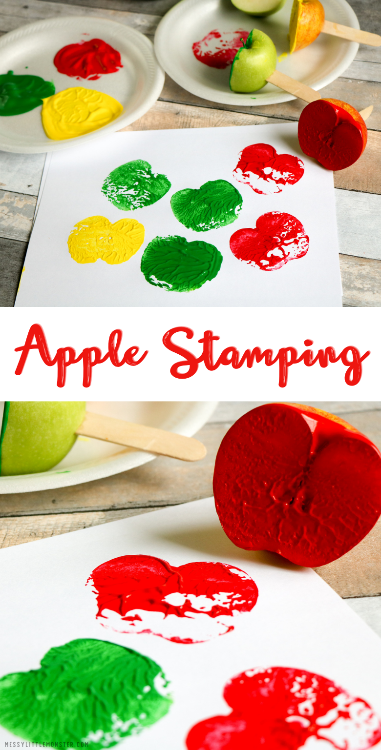 Apple stamping. Easy apple craft for kids.