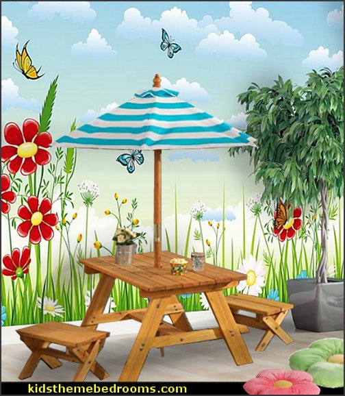 Outdoor Table w/ Benches & Umbrella   Melissa & Doug Country Cottage Indoor Playhouse   flower wall decal flower garden wall mural  playroom decorating garden theme furniture for playrooms