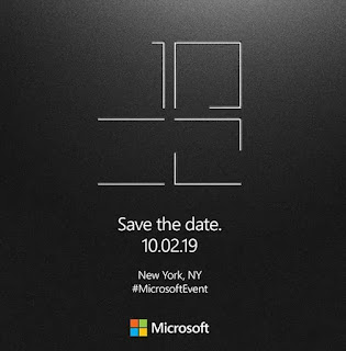 Microsoft announces the Surface event on October 2, new york, We may see a new double-screen surface, Microsoft is holding a special event for surface devices in New York City in October.