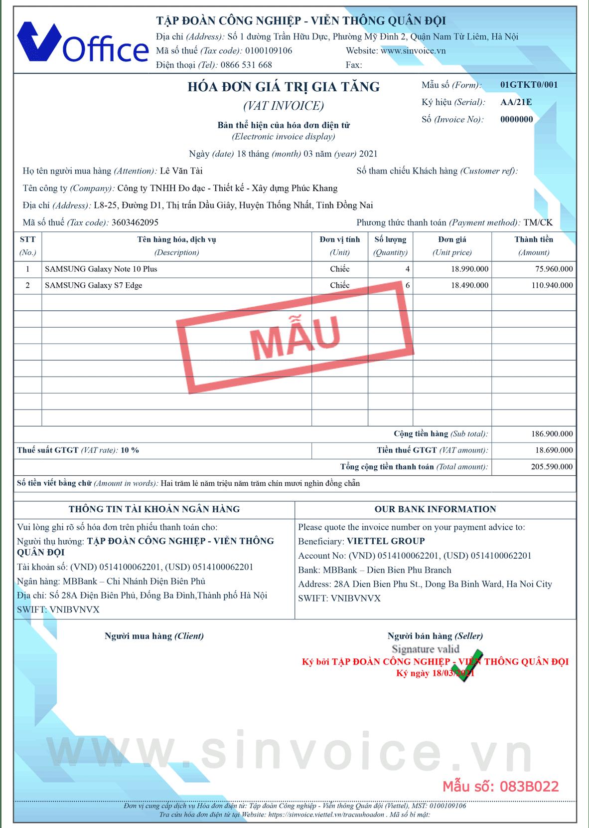 Mẫu hóa đơn điện tử số 083B022