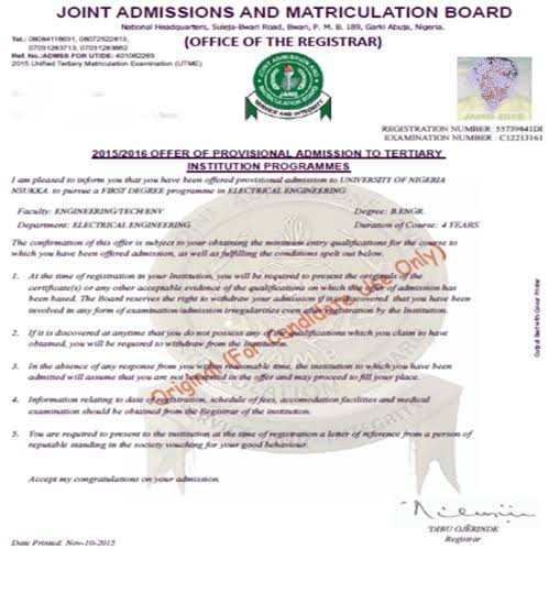How to Print your JAMB Admission Letter