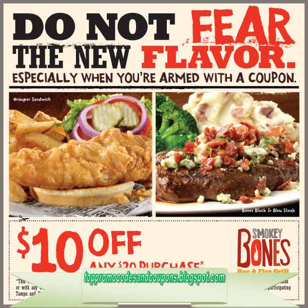 image regarding Smokey Bones Coupons Printable named Smokey bones printable discount codes 2019