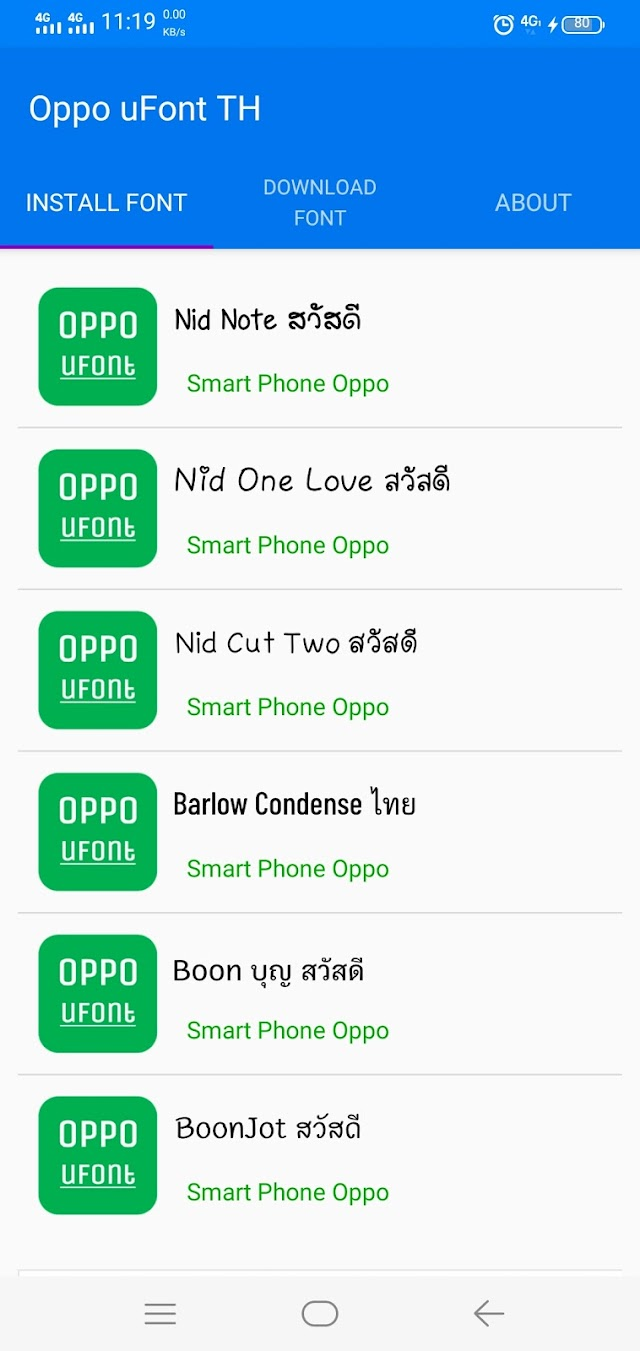 Thai Font style For oppo and Realme