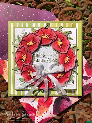 Andrea Sargent, Social Stamping, blog hop, Stampin Up, 2020, Peaceful Poppies, wreath, Peaceful Moments