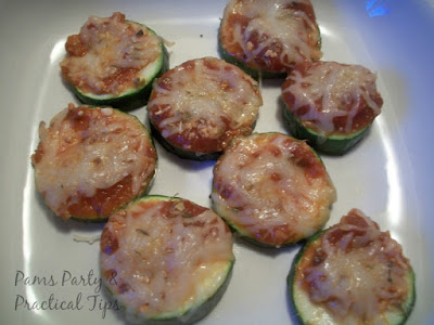 Sliced Zucchini Pizza Bites with Cheese