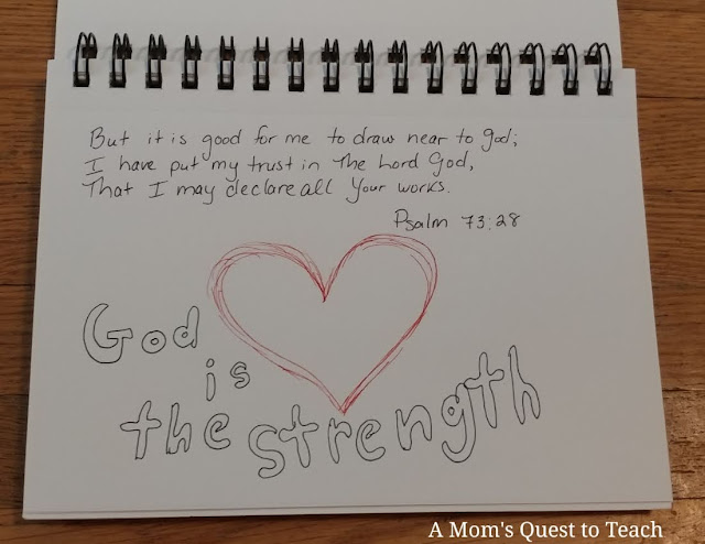 Psalm 73: 28 quote; heart drawn with God is the Strength around it
