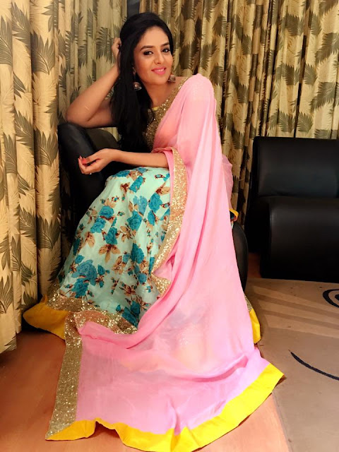 Sreemukhi Latest saree Stills