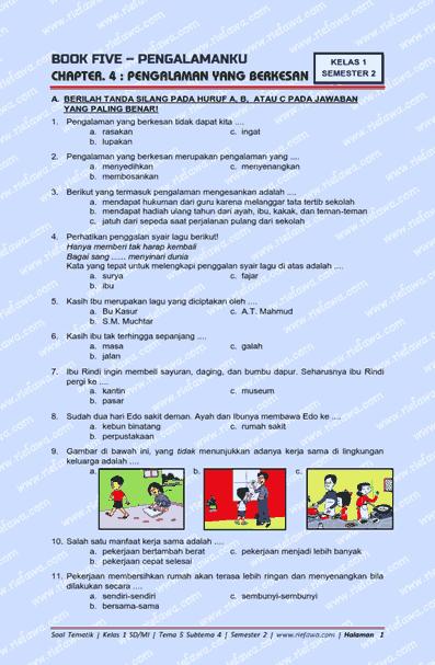Contoh Soal Tematik Tema 5 Kelas 1 Sd Guru Ilmu Sosial