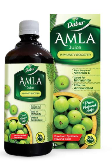Dabur Amla Juice: Rich Source of Vitamin C and Antioxidants for Immunity boosting  Pure, Natural and 100% Ayurvedic Juice -1L