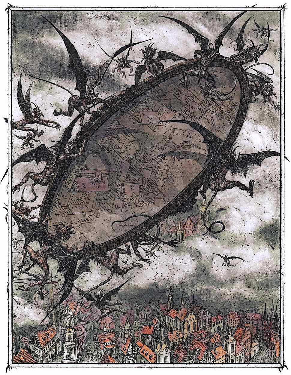 a children's book illustration by Boris Diodorov, flying demons holding a giant mirror over a town