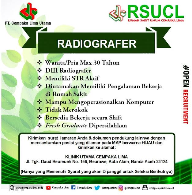 Lowongan Kerja Sebagai Radiografer RSU Cempaka Lima Aceh Tahun 2020