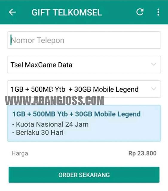 Cara Tembak Telkomsel Kuota Murah GameMax 30GB Murah Rp.23.800