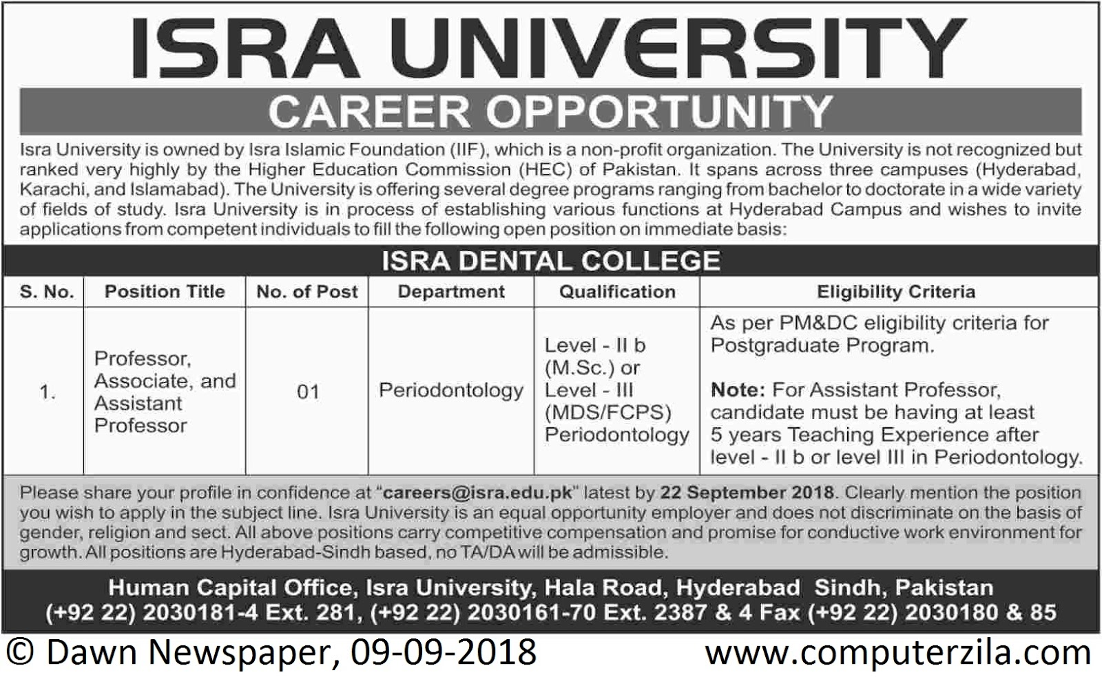 Career Opportunity at Isra University (Isra Dental College)
