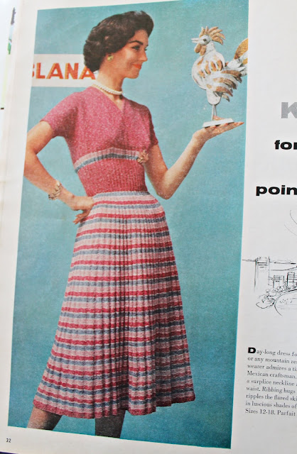 free 1950s parfait stripe summer dress knitting pattern