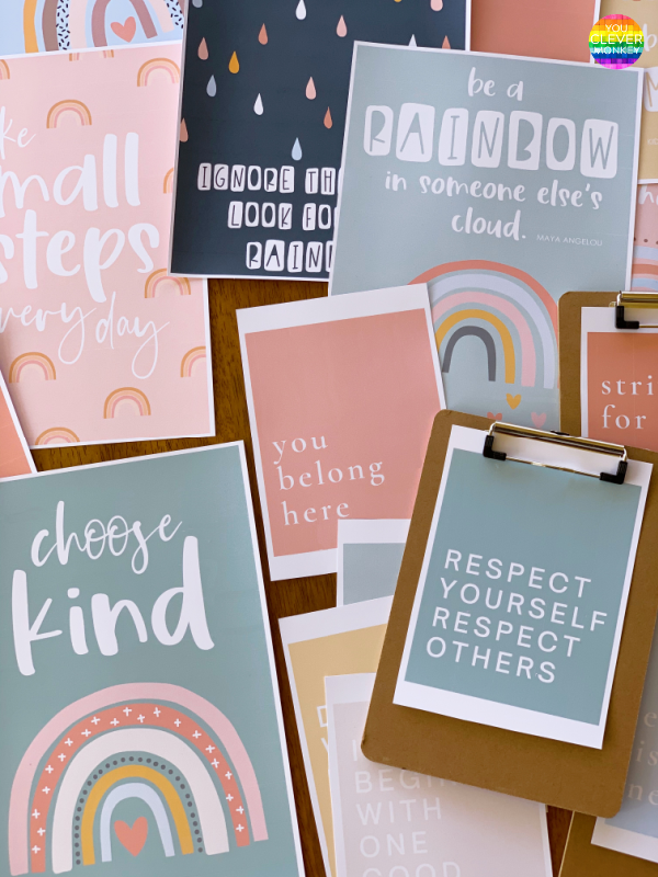BOHO RAINBOW Classroom Inspirational Posters | you clever monkey