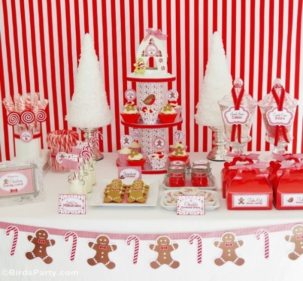 Christmas Candyland Gingerbread men and candy canes Inspired Desserts table - BirdsParty.com