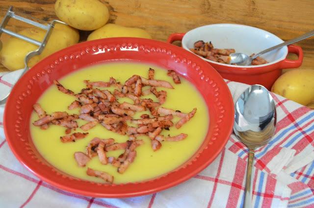 Las delicias de Mayte, crema de patatas y beicon, crema de patatas con beicon, como hacer crema de patatas, crema de patatas, puré de patatas,