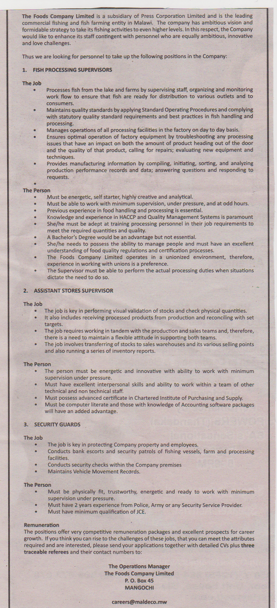 Jobs at Foods Company Limited - 11/3/2014