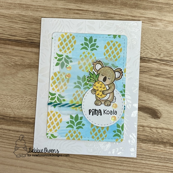 Pina koala by Debbie features Pineapple, Tropical Leaves, Pina Koala, Frames Squared, and Frames & Flags by Newton's Nook Designs; #inkypaws, #newtonsnook, #cardmaking, #tropicalcards