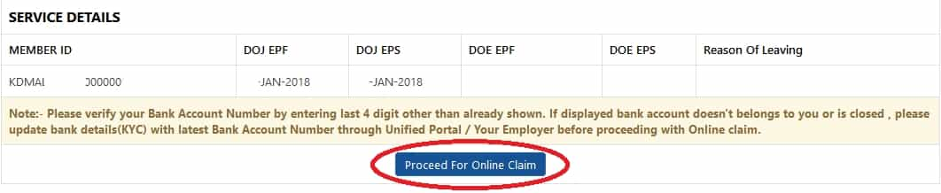 Proceed for online claim