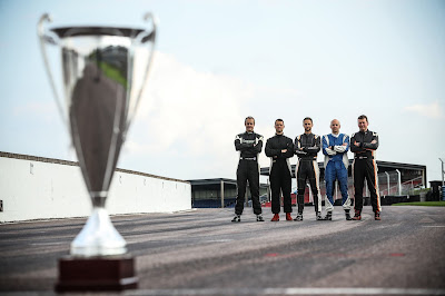 2018 Caterham Roadsport Championship Contenders (l-r) Graham Macdonald, Daniel Halstead, James Murphy, Daniel French and Tom Allen).