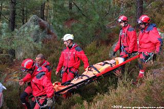 Forêt de Fontainebleau, Sauvetage à victime (exercice)